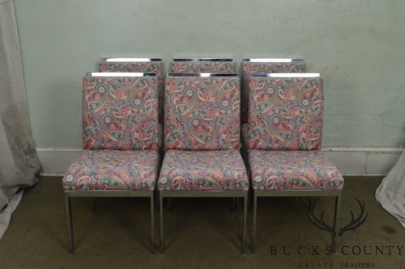 Milo Baughman Mid Century Modern Set of 6 Chrome Parsons Dining Chairs