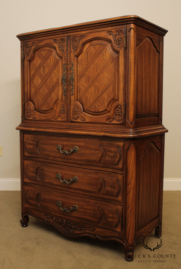 Thomasville Vintage French Country Style Oak Gentlemans Tall Chest