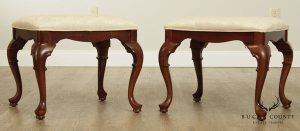 Stanley Queen Anne Style Pair Cherry Benches