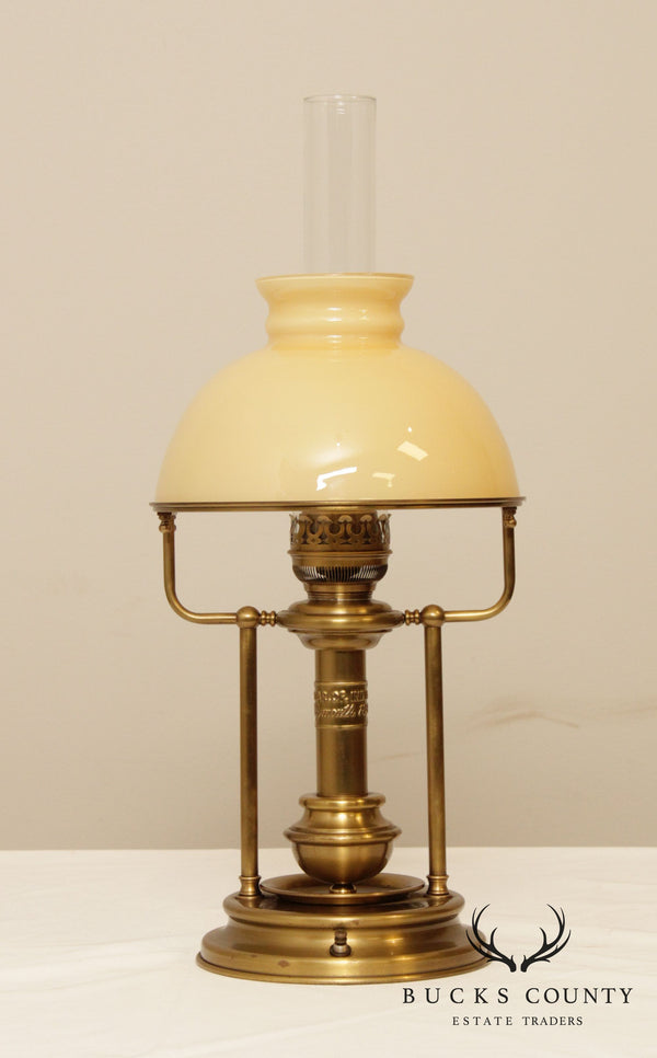 Star of India Plymouth Vintage Brass Glass Shade Table Lamp