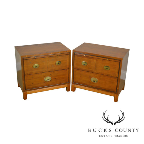 Campaign Style Pair of Yew Wood Bed Side Chest Nightstands by Hickory