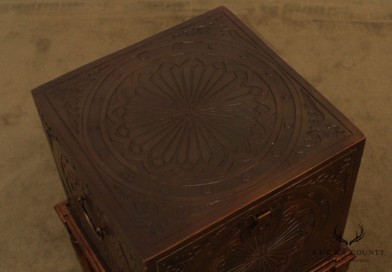 Encised Faux Decorated File Cabinet Box on Frame