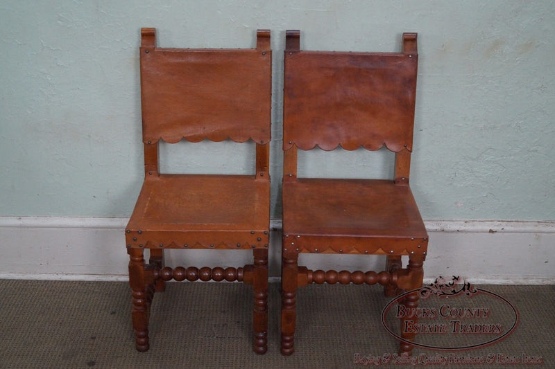 Vintage Pair of Spanish Colonial Leather Side Chairs