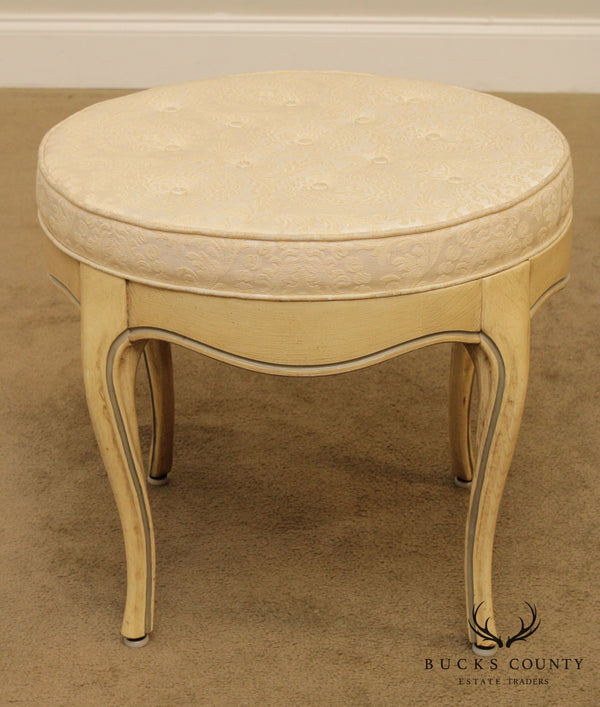 French Louis XV Style Vintage Round Stool, Vanity Bench