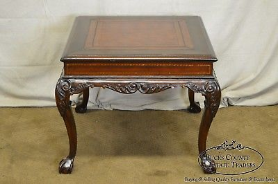 Georgian Chippendale Style Carved Mahogany Tooled Leather Top Square Side Table
