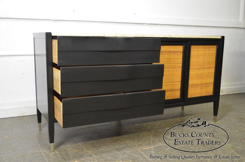 Mid Century Modern Custom Black Painted Travertine Top Sideboard