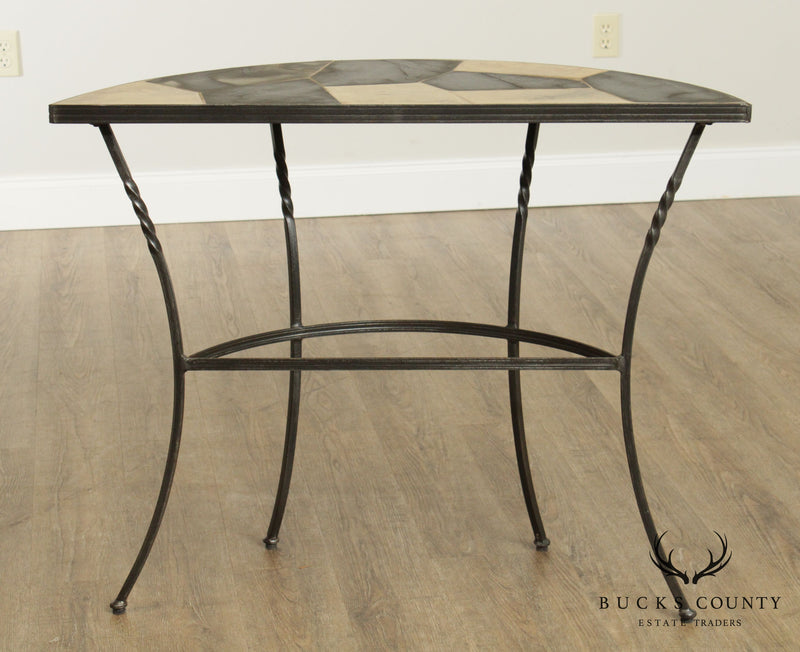 Hand Crafted Forged Iron & Stone Top Demilune Console Table
