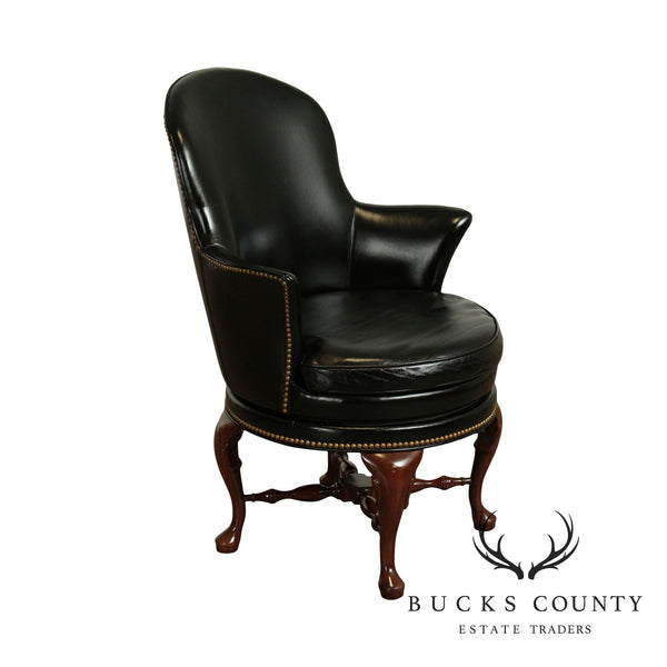 Hancock & Moore Mahogany Queen Anne Style Black Leather Swivel Desk Chair