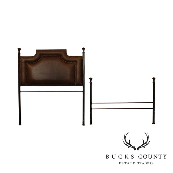 Quality Wrought Iron & Brown Leather Full Size Headboard