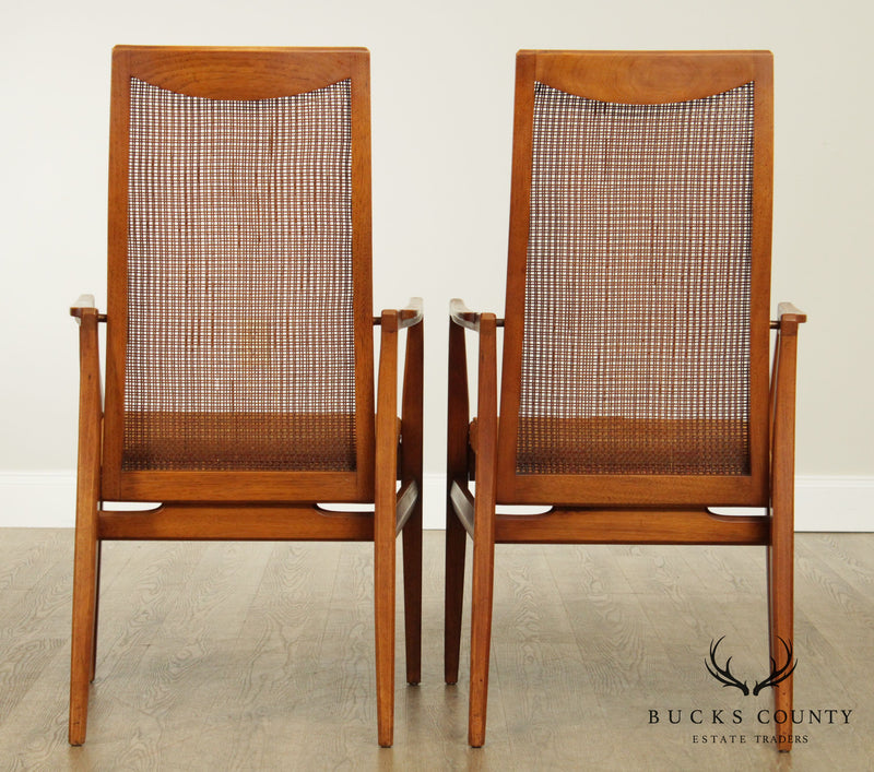Heritage Mid Century Modern Pair Walnut Cane Back Armchairs