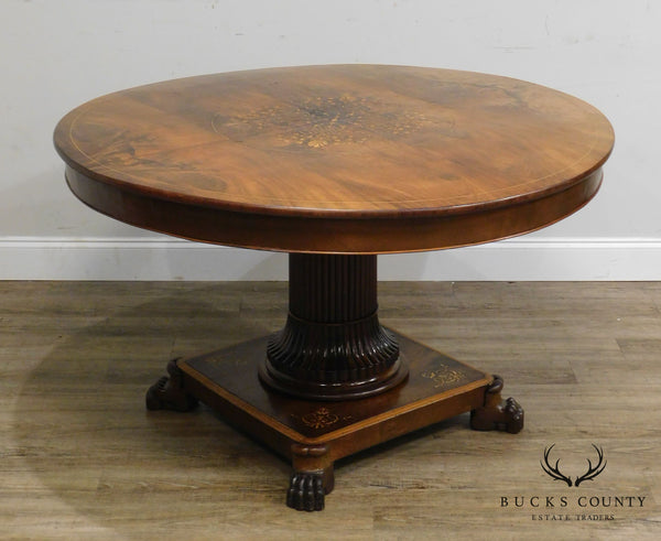 Antique 19th Century English Regency Style Mahogany Round Inlaid Center Or Dining Table