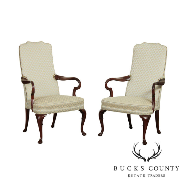 Hickory Chair Vintage Pair Mahogany Queen Anne Armchairs