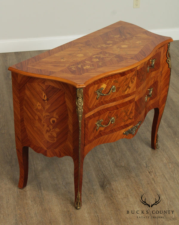 French Louis XV Style Marquetry Inlaid Bombe Commode Chest