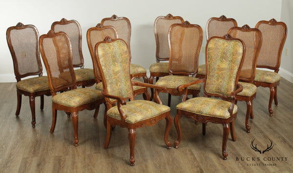 Bernhardt Vintage French Country Style Set 12 Cane Back Dining Chairs