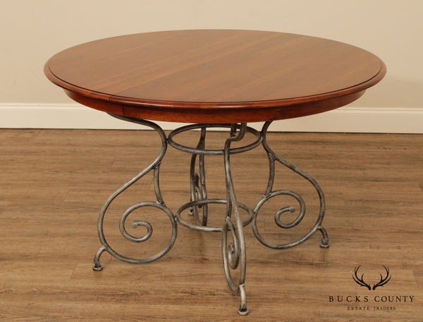 Ethan Allen 'Maison Collection' 46 Inch Round Cherry Dining Table, Iron Base (B)