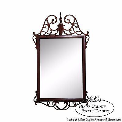 Quality Mahogany Chippendale Beveled Glass Wall Mirror