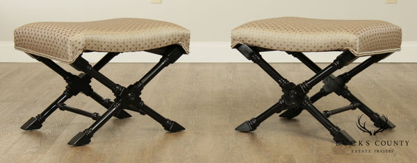 Regency Style Black Lacquered Pair X Benches