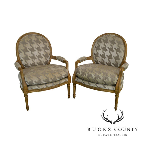 French Louis XVI Style Custom Upholstered Faux Painted Pair Fauteuils Chairs