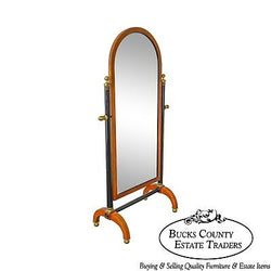 Century Biedermeier Style Cherry Wood Black & Brass Cheval Mirror