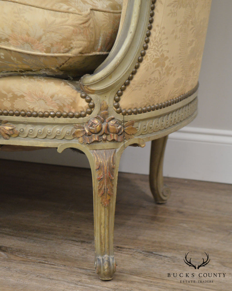 French Louis XV Style Antique Paint Frame Sofa