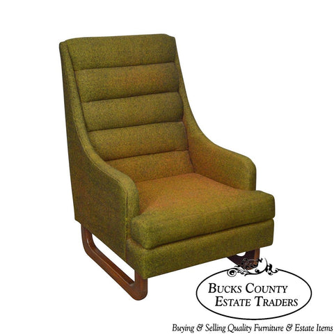 Adrian Pearsall Craft Associates Mid Century Modern Green High Back Lounge Chair