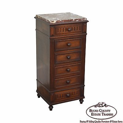 Antique French Renaissance Style Walnut Marble Top Bed Side Chest Pot Cupboard