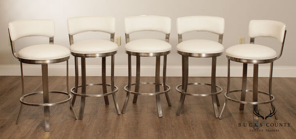 Wesley Allen Baltimore Brush Stainless Steel Set 5 Swivel Counter Bar Stools