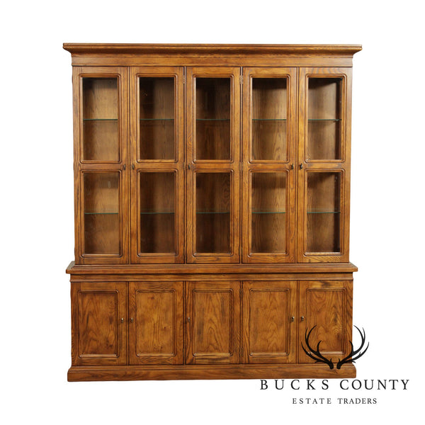 Henredon Artefacts Collection Vintage Oak Campaign Style China Cabinet Breakfront