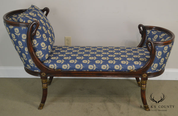 Althrop Living History French Empire Style Swan Carved Recamier Chaise Lounge