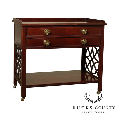 Baker Historic Charleston Chinese Chippendale Style Bedside 2 Drawer Nightstand