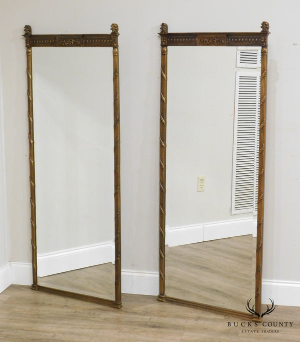 Regency Style Vintage Pair Gold Gilt Beveled Wall Mirrors