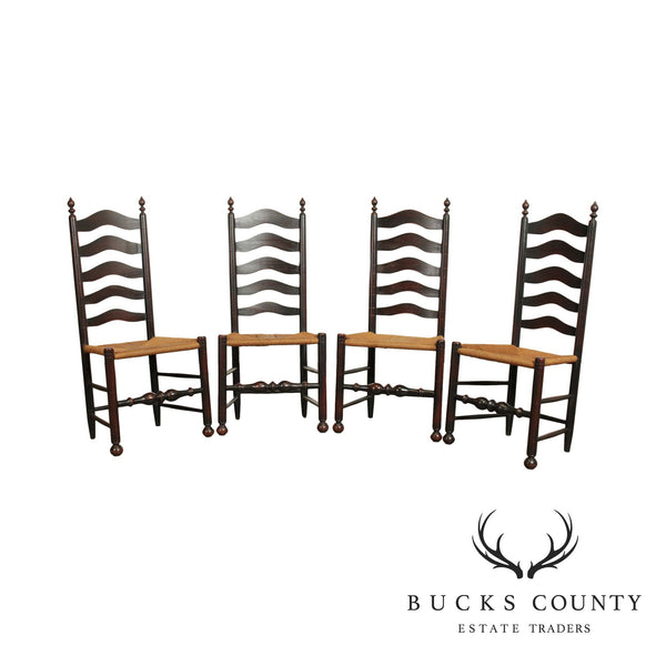 Custom Crafted Set 4 Delaware Valley Ladder Back Rush Seat Dining Chairs