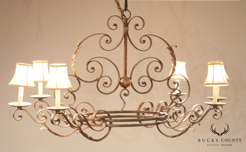Currey & Company French Style Wrought Iron 6 Light Chandelier