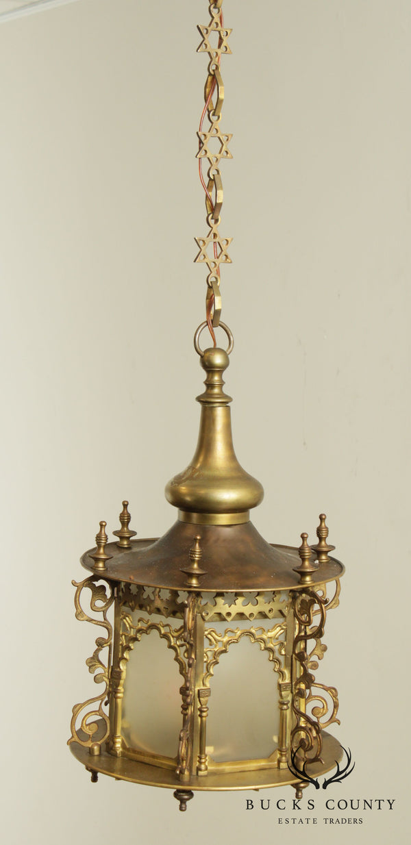 Gothic Revival Vintage Brass Hanging Sanctuary Lamp Chandelier