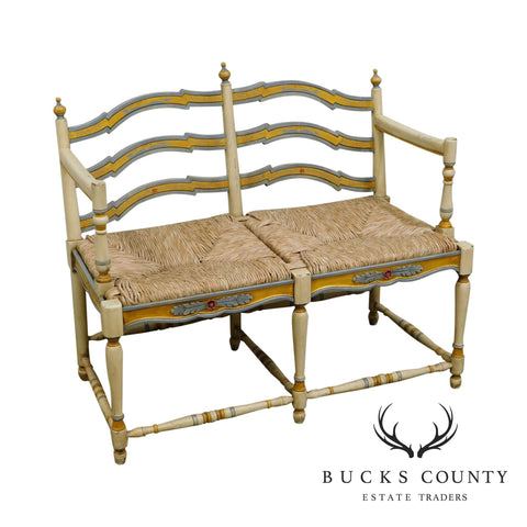 Habersham French Country Style Painted Rush Seat Settee Bench