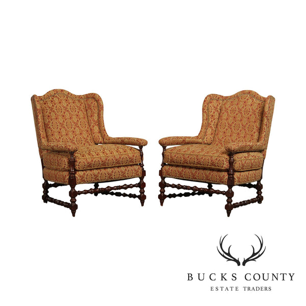 Guy Chaddock Jacobean Style Pair Wing Back Chairs