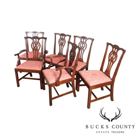 Stickley Chippendale Style Set 6 Solid Mahogany Dining Chairs