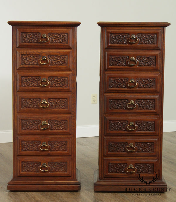 Spanish Revival Style Vintage Carved Oak Pair Semainer Lingerie Chests