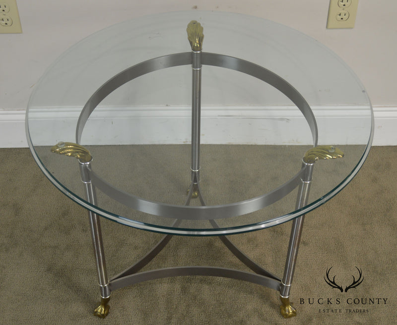 Directoire Style Brushed Steel & Brass Round Glass Top Side Table