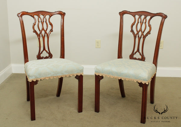 Chippendale Style Solid Mahogany Pair Side Chairs