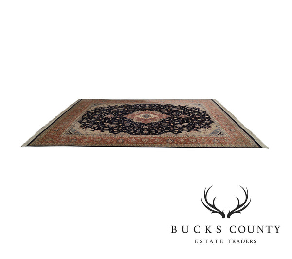 9' x 12' Hand Tied Blue Medallion Room Size Rug