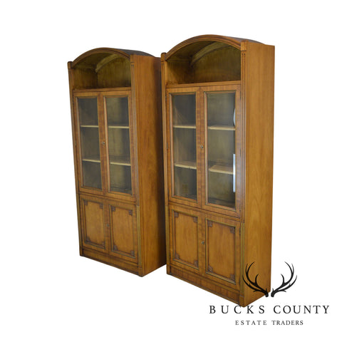 Henredon French Country Style Vintage Pair Walnut Arch Top Bookcases Cabinets