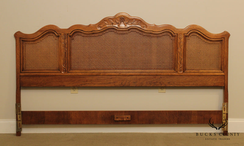 Drexel Cabernet Collection French Country King Size Carved Caned Headboard