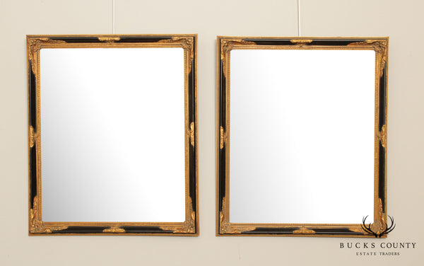 Quality Black & Gold French Regency Style Pair Beveled Wall Mirrors