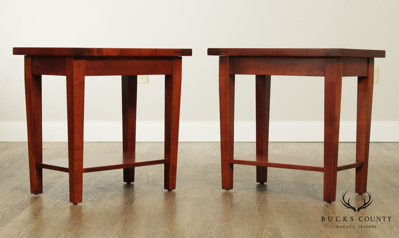 Jacob & Levi's Country Home Pair Solid Maple Wood End Tables