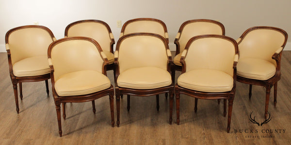 French Louis XVI Style Vintage Set 8 Cream Leather, Walnut Dining Chairs