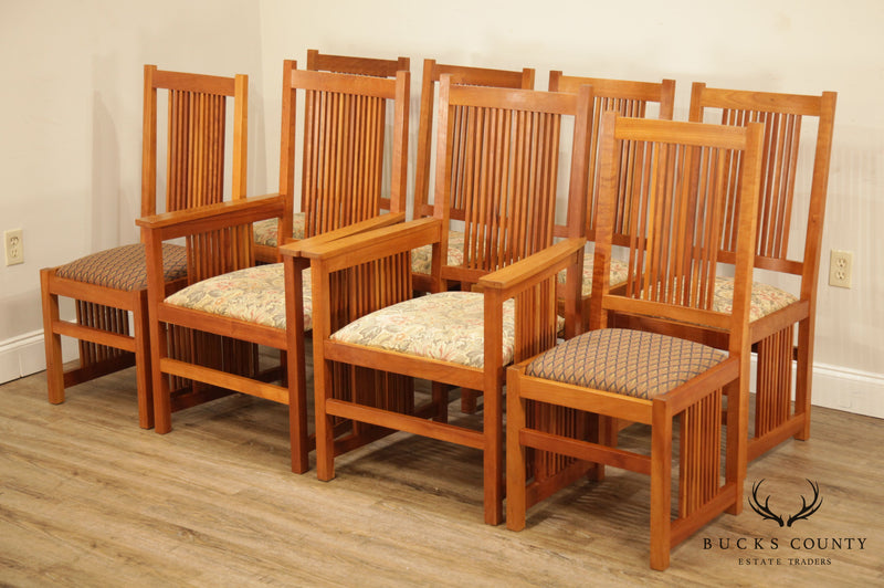 Scott Jordan Mission Style Solid Cherry Set 8 Spindled Dining Chairs