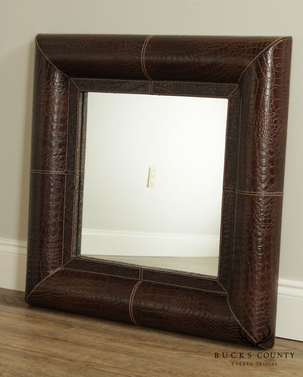 Brown Crocodile Embossed Leather Wrapped Wall Mirror