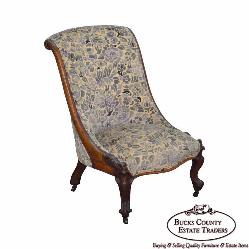 Antique Victorian Walnut Frame Slipper Chair