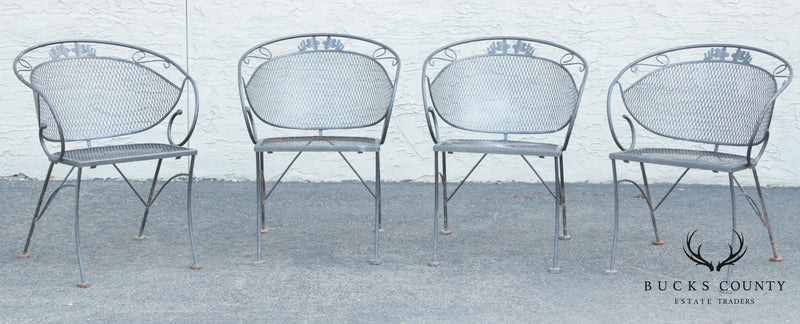 Vintage Wrought Iron & Expanded Metal Set 4 Curved Back Patio Dining Chairs